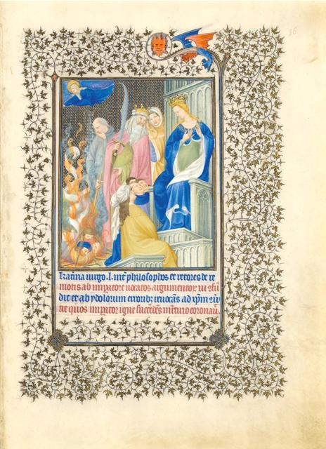 Belles Heures of Jean de France, duc de Berry, 1405–1408/9. Herman, Paul, and Jean de Limbourg (Franco-Netherlandish, active in France by 1399–1416). French; Made in Paris. Ink, tempera, and gold leaf on vellum; 9 3/8 x 6 5/8 in. (23.8 x 16.8 cm). The Metropolitan Museum of Art, New York, The Cloisters Collection, 1954 (54.1.1).