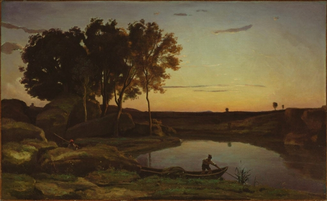 Landscape with lake and boatman, 1839, by Jean-Baptiste-Camille Corot (1796-1875), oil on canvas, the J. Paul Getty Museum, Los Angeles