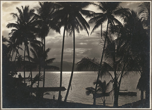 Sunset, Boianai, [1], no date, by Frank Hurley (1885-1962), from Photograph album of Papua and the Torres Strait, NLA Commons on Flickr
