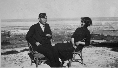 William James Nomchong and Ellen Nomchong, overlooking the ocean, Clovelly, NSW, 1927, From the Nomchong family photograph collection, NLA Commons on Flickr
